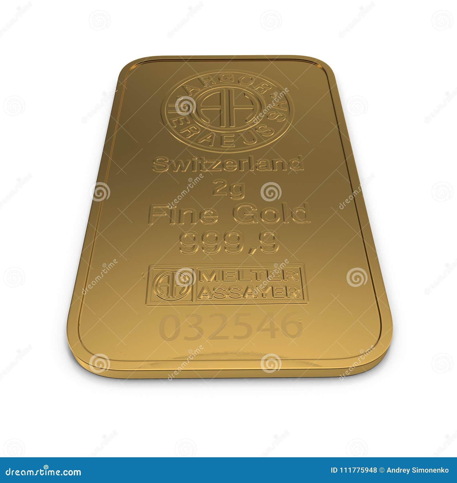 Barra de ouro 2g isolada no branco ilustração 3D