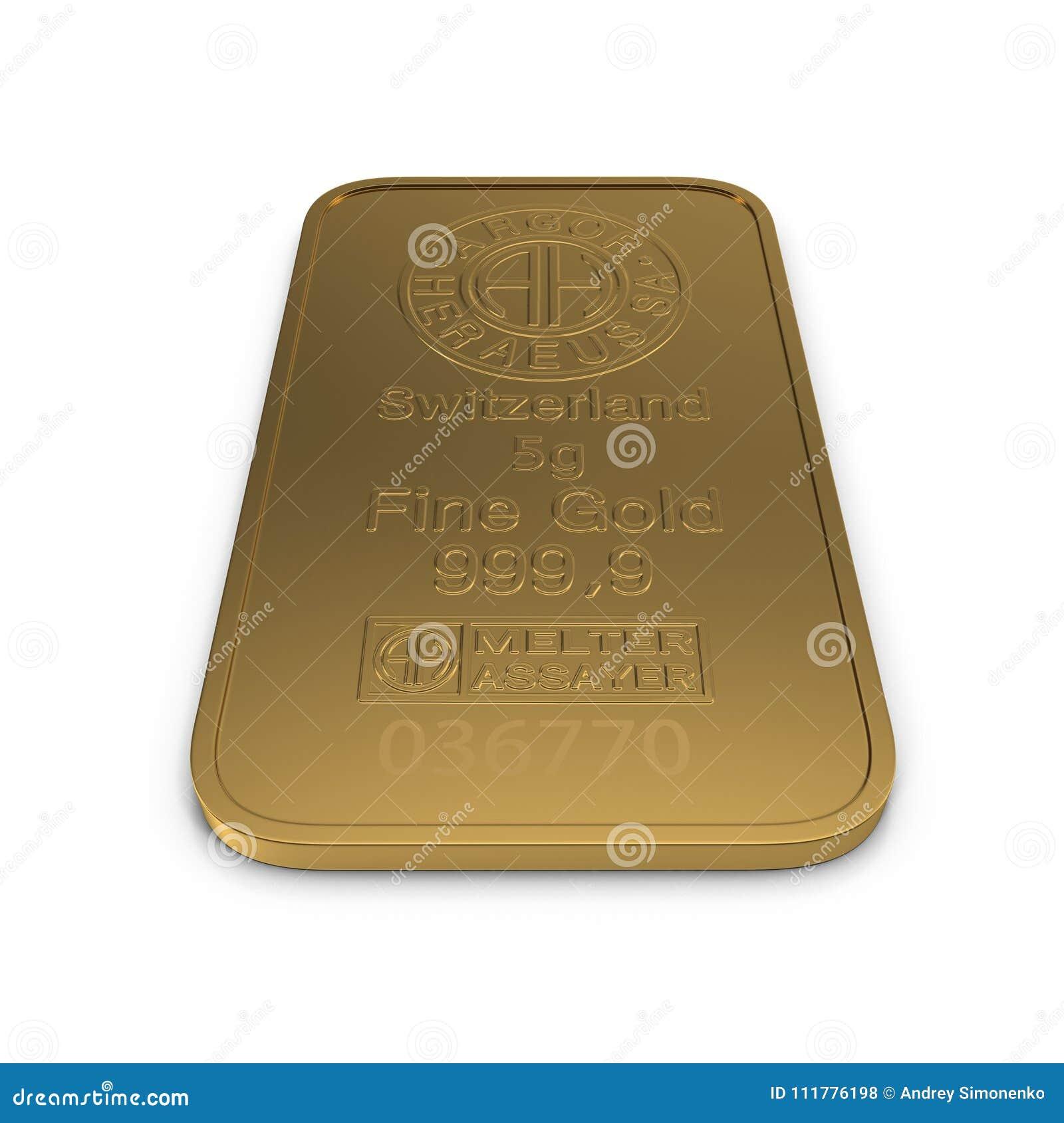 Barra de ouro 5g isolada no branco ilustração 3D
