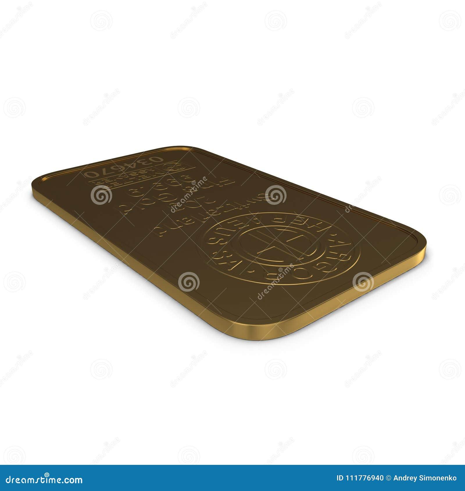 Barra de ouro 20g isolada no branco ilustração 3D