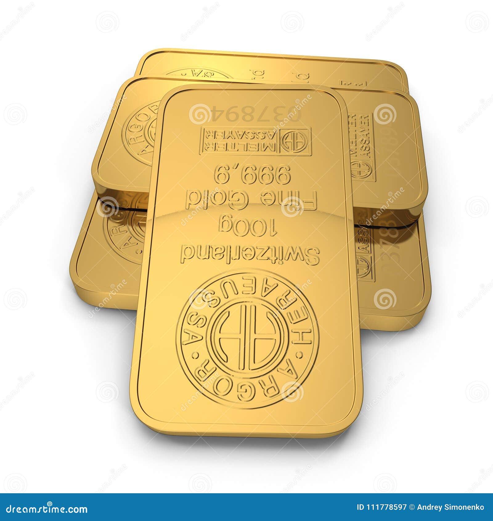 Barra de ouro 100g isolada no branco ilustração 3D