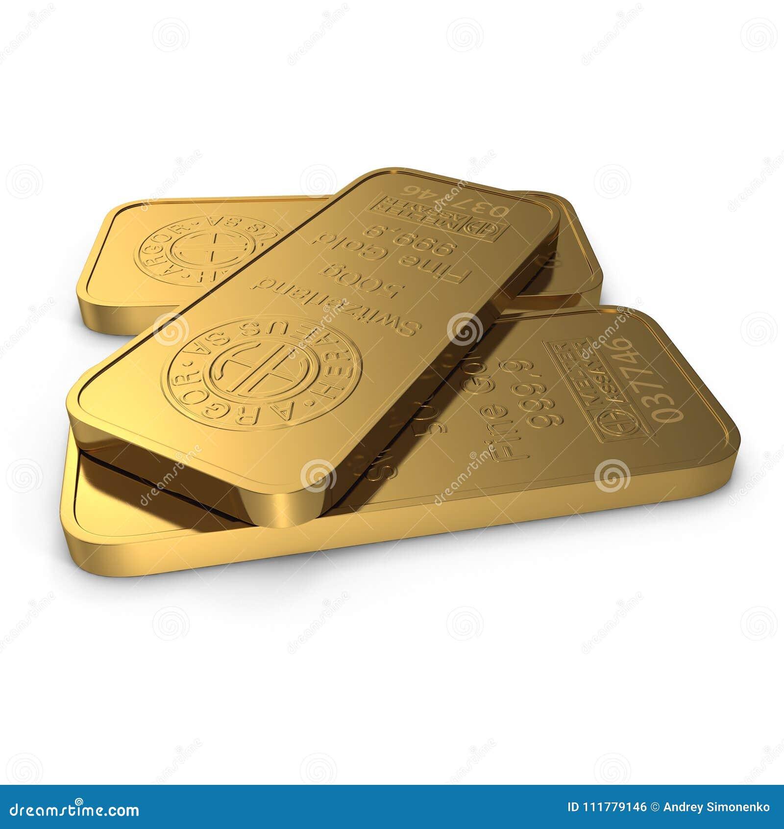 Barra de ouro 500g isolada no branco ilustração 3D
