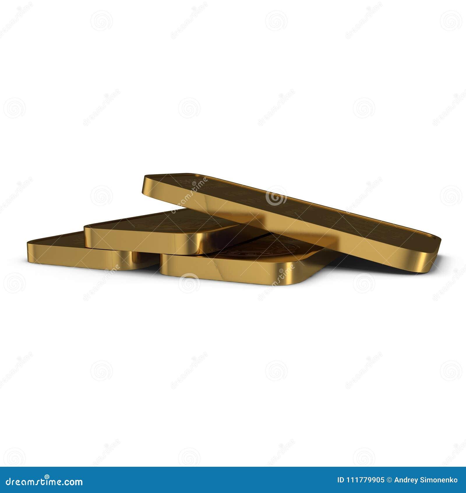 Barra de ouro 1000g isolada no branco ilustração 3D