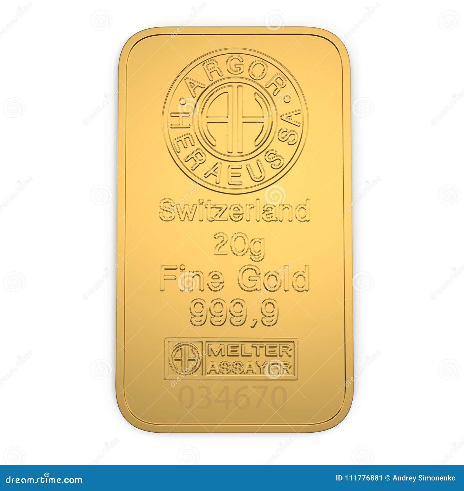 Barra de ouro 20g isolada no branco Vista superior ilustração 3D