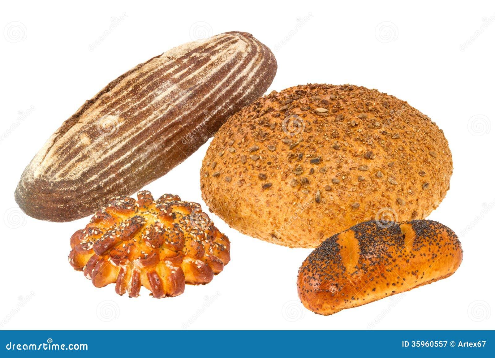 Barra de pan con las semillas y el rollo de sésamo con las semillas de amapola