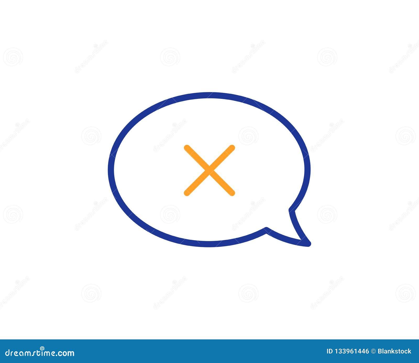 Barra dei messaggi di scarto icona Segno di chiacchierata di declino Vettore