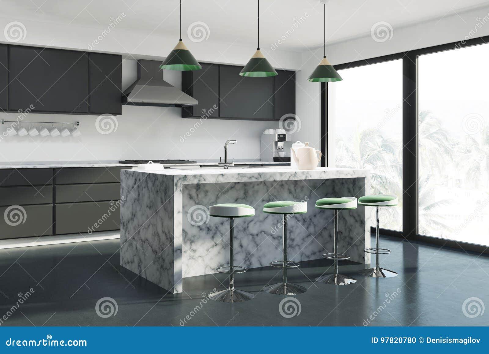 Barra Di Marmo Della Cucina Bianca Illustrazione di Stock ...