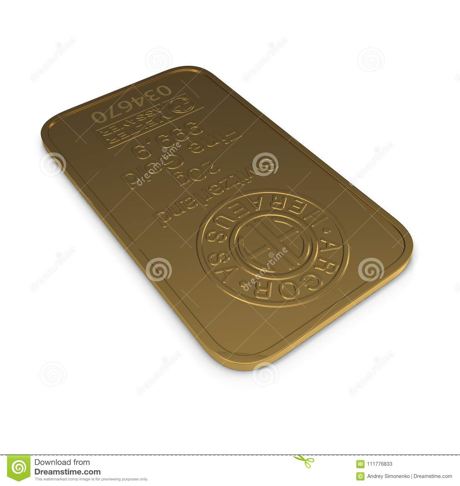 Barra di oro 20g isolata su bianco illustrazione 3D