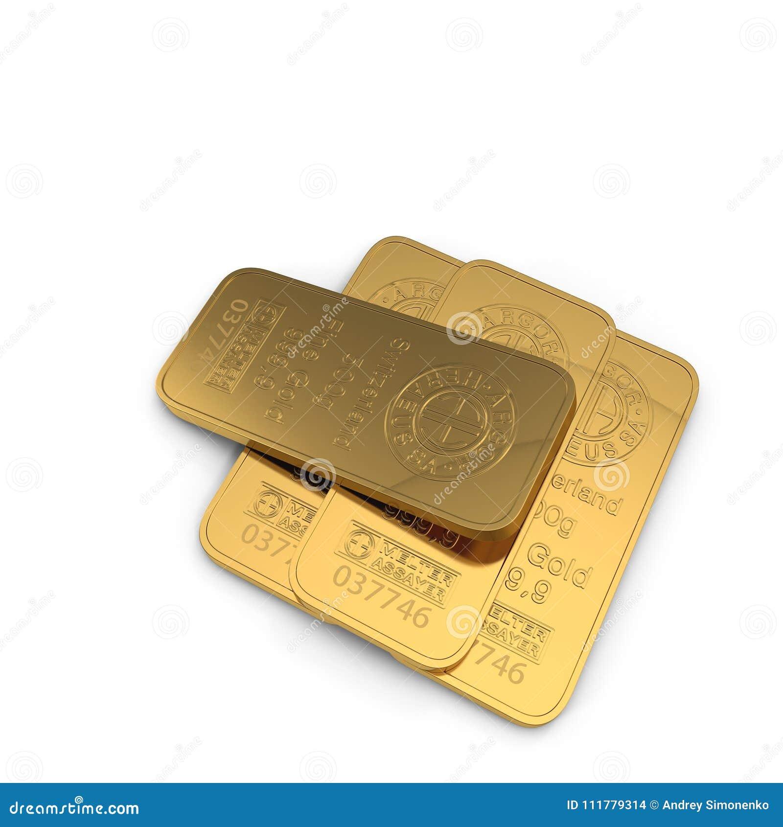 Barra di oro 500g isolata su bianco illustrazione 3D