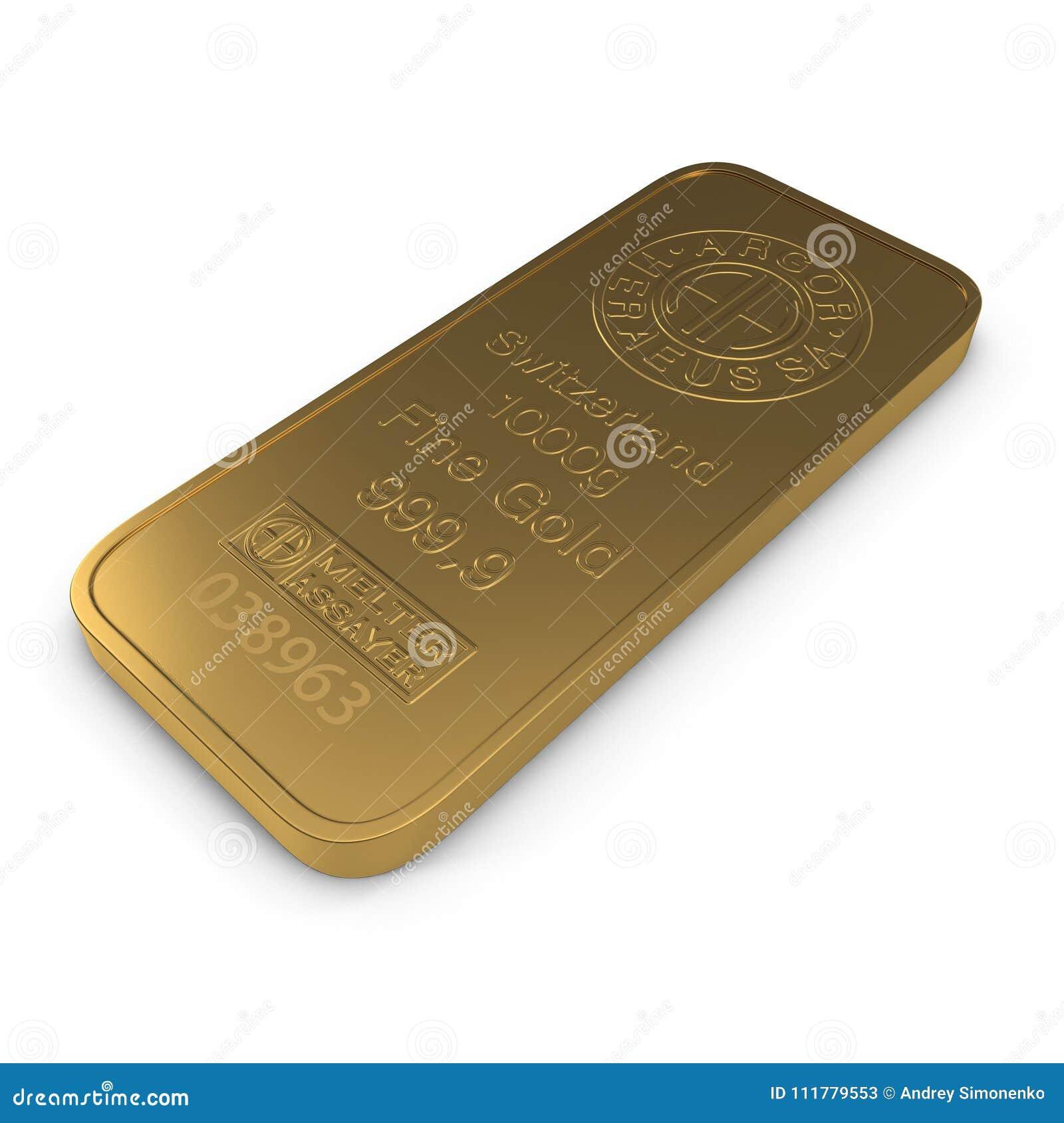 Barra di oro 1000g isolata su bianco illustrazione 3D