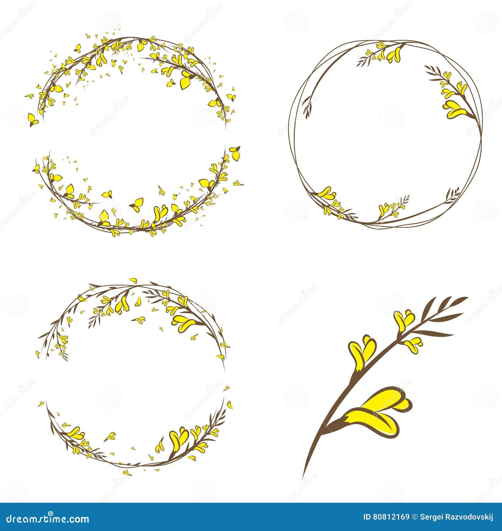 Barra el sistema decorativo del marco de la flor amarilla