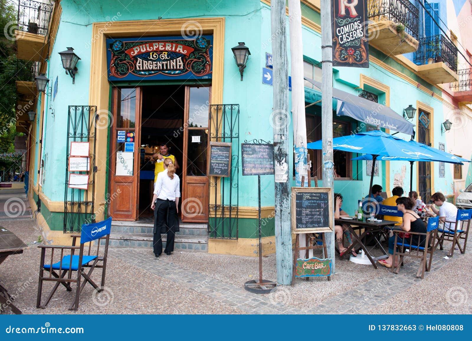 Barra, restaurante, clube do tango no La Boca, Buenos Aires, Argentina