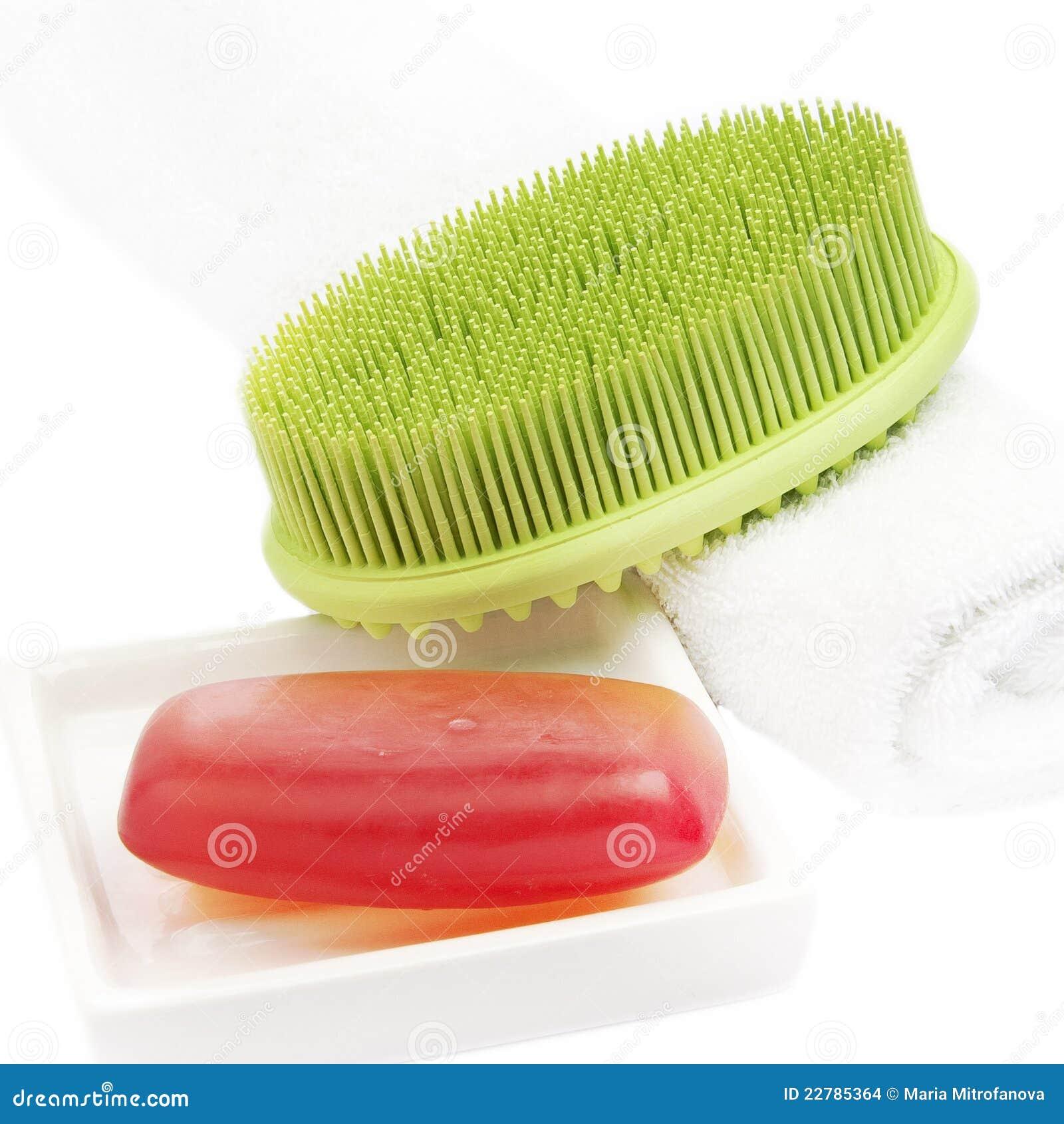 Barra rossa del sapone con la spazzola verde immagini for Disegni della barra del garage