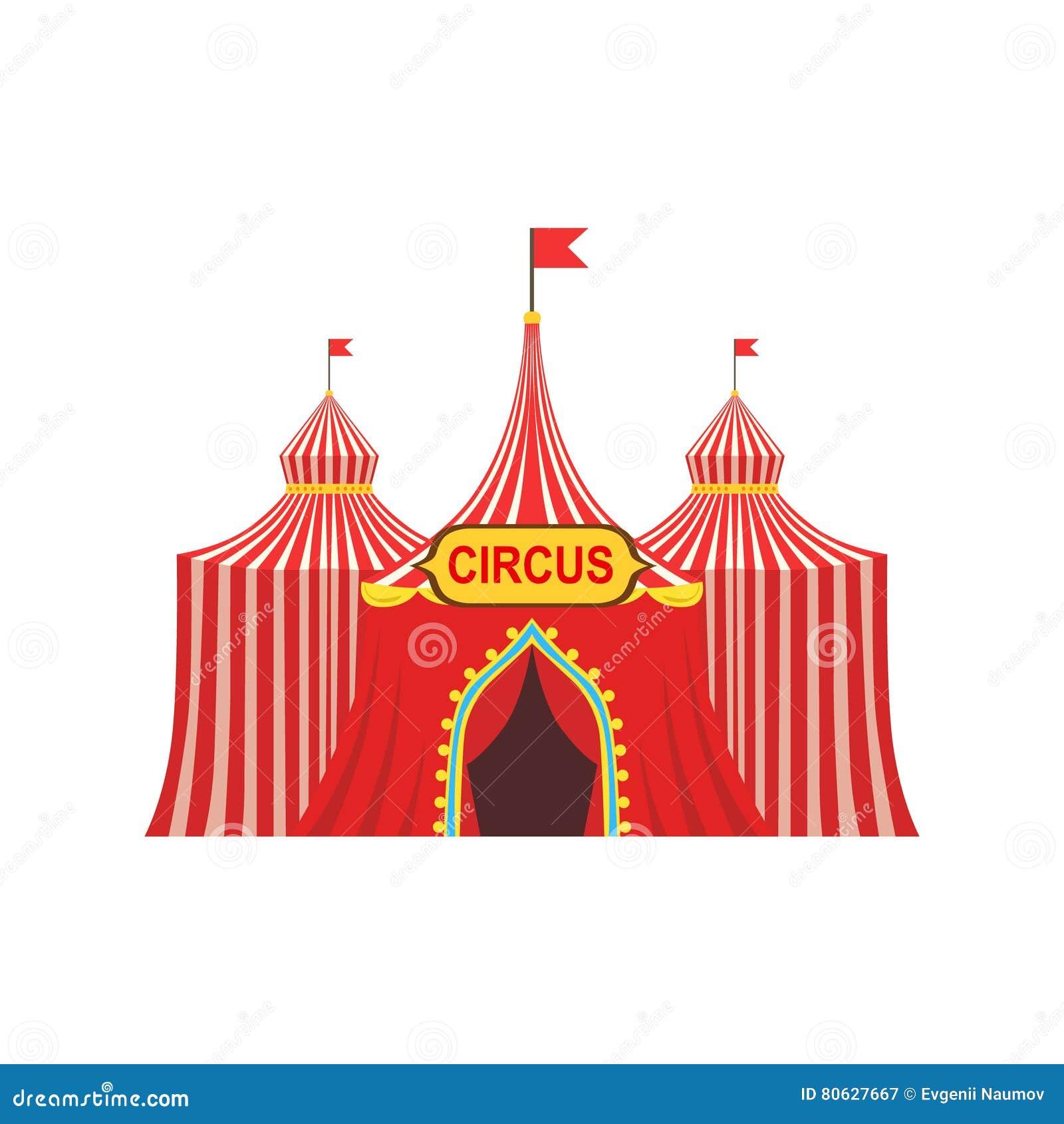 Barraca provisória do circo no pano vermelho listrado com bandeiras e sinal da entrada