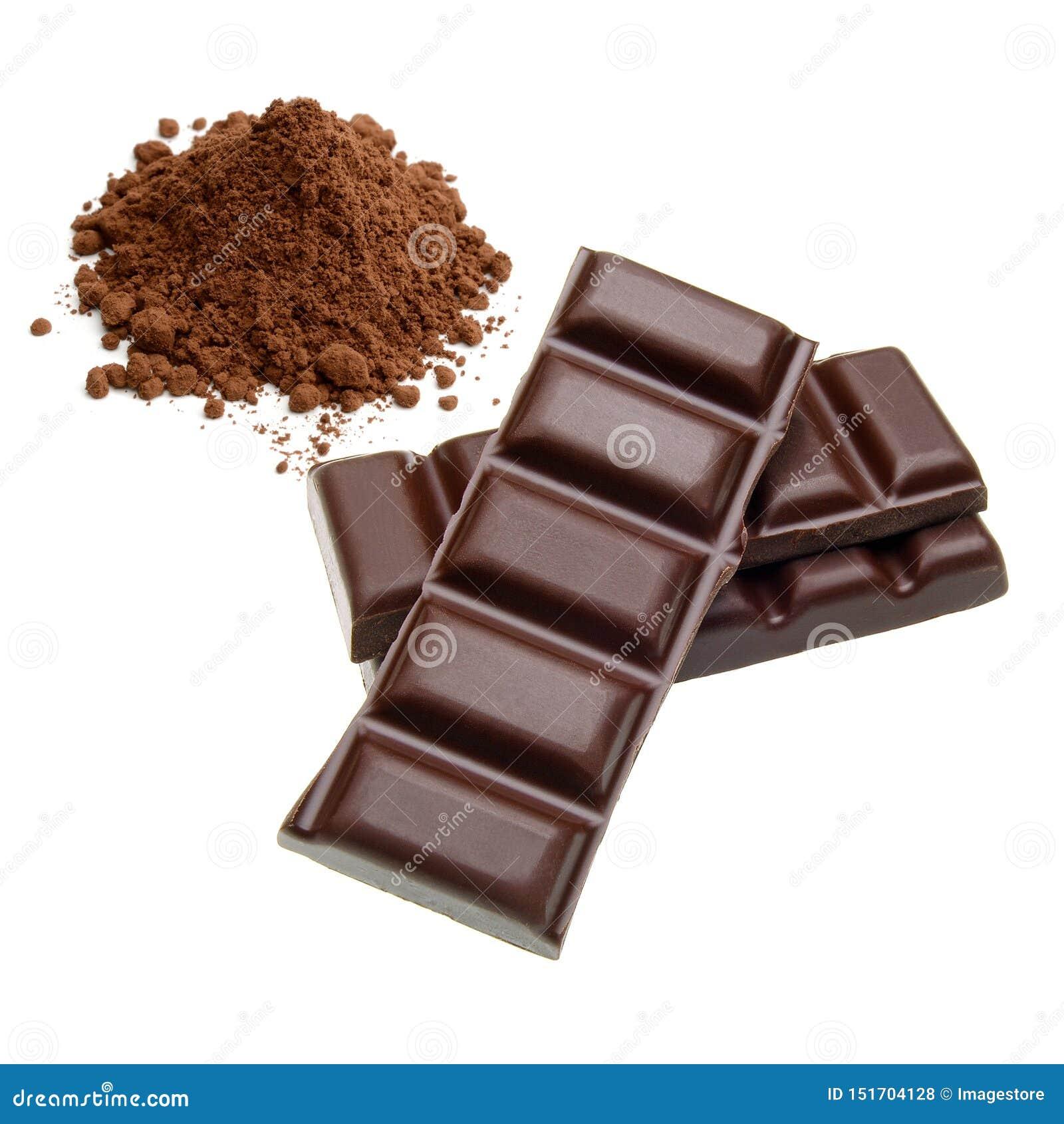 Barras de chocolate e pilha do cacau