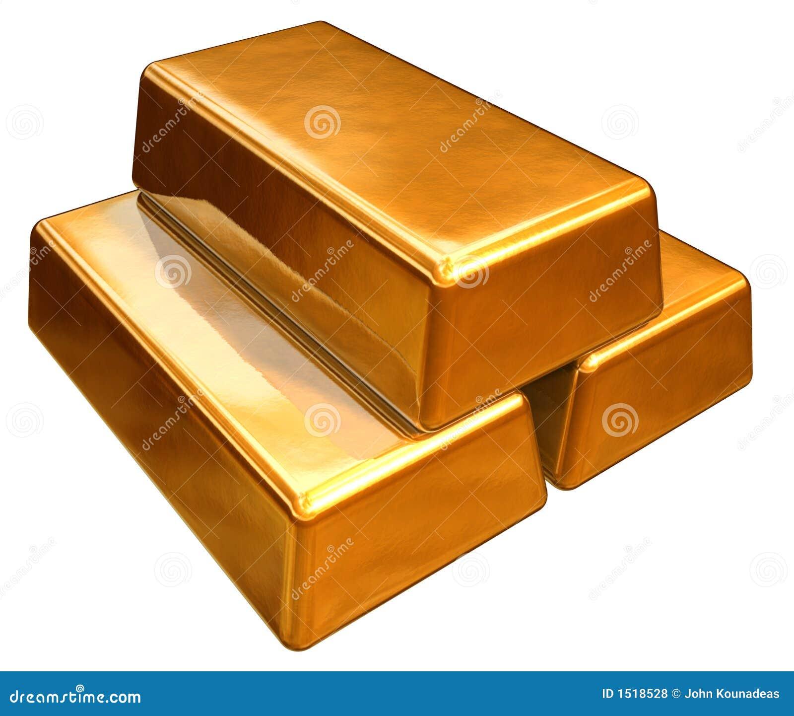 Barras de ouro 3d