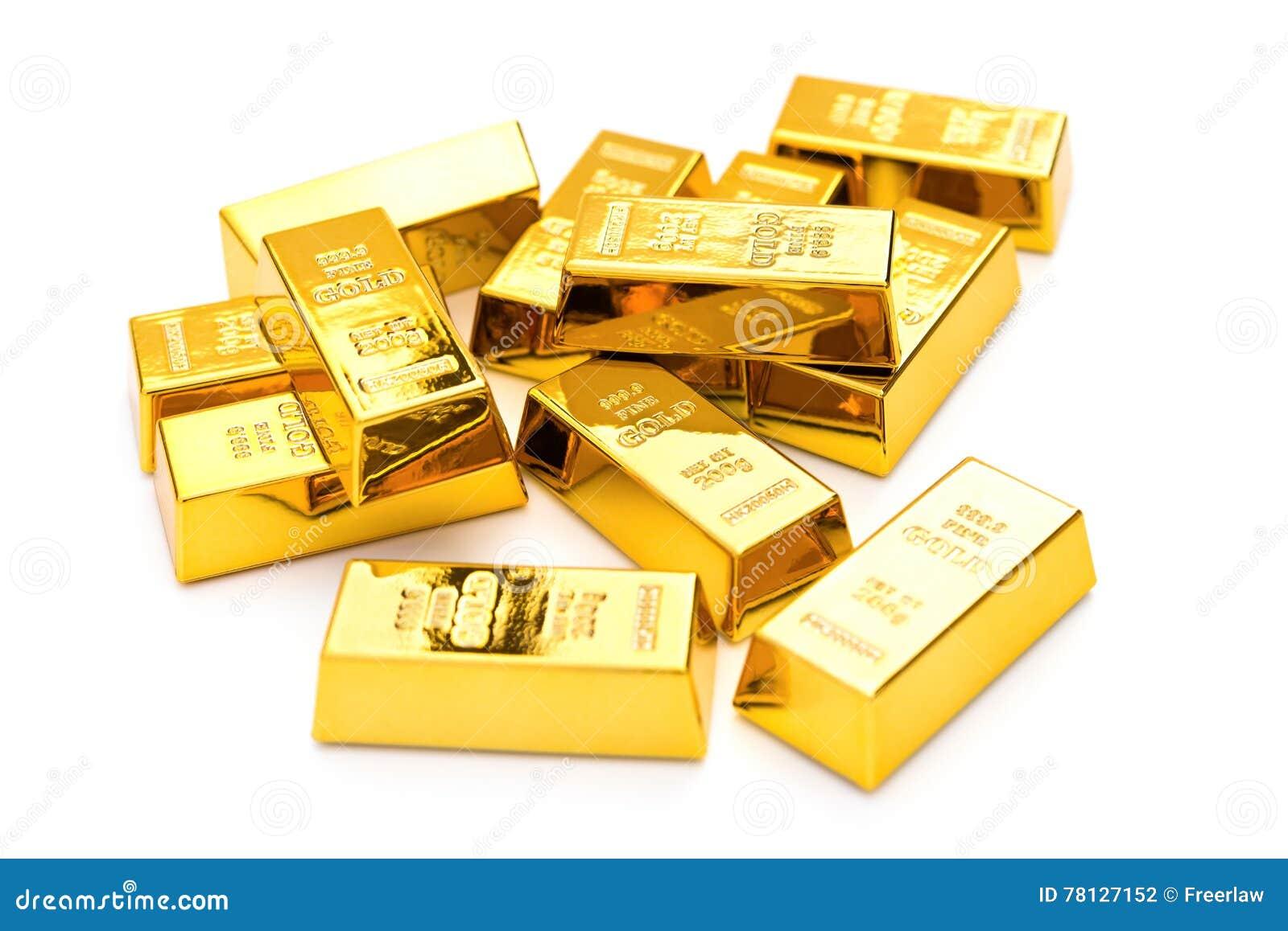 Barras de ouro no branco