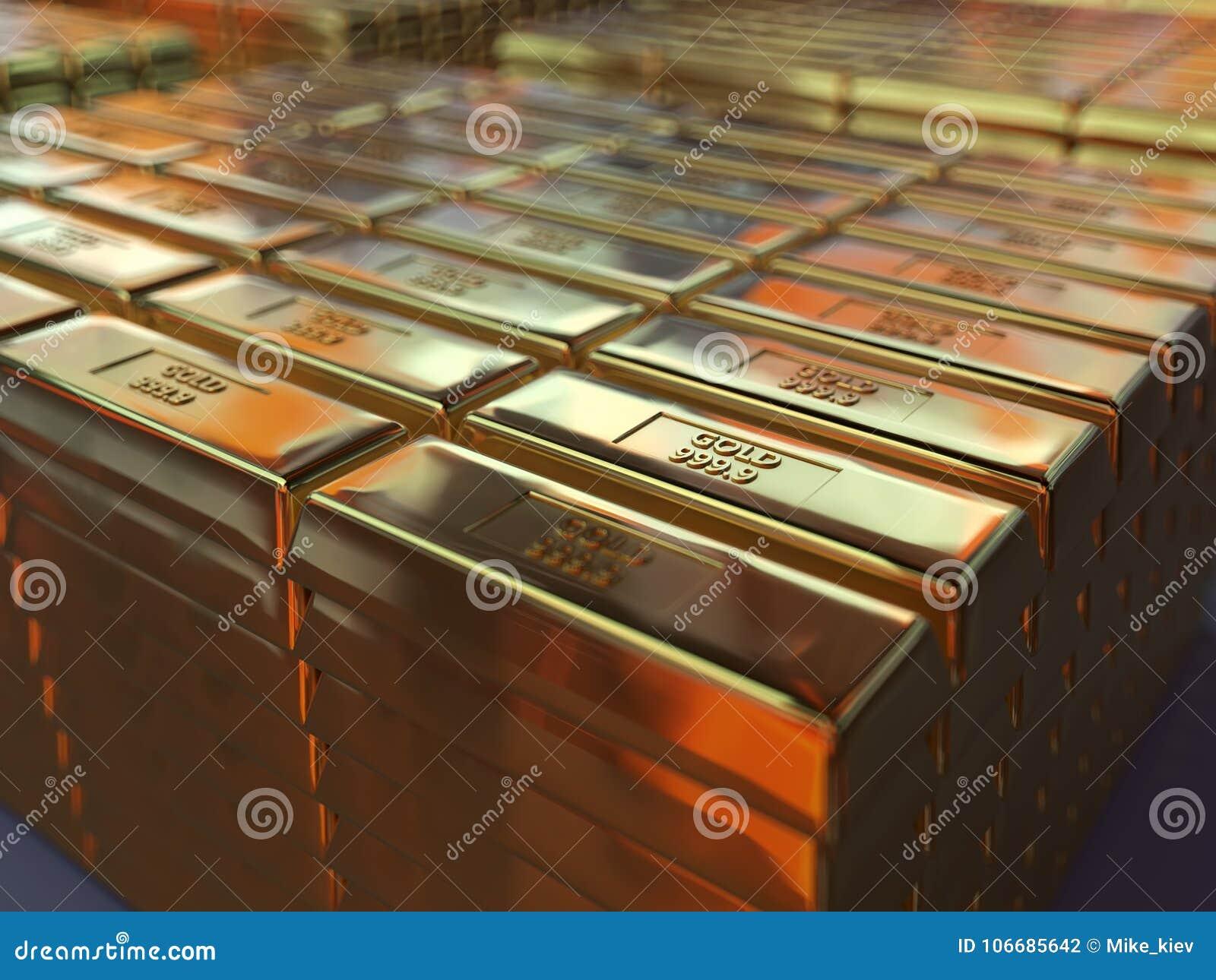 Barras de ouro no depósito
