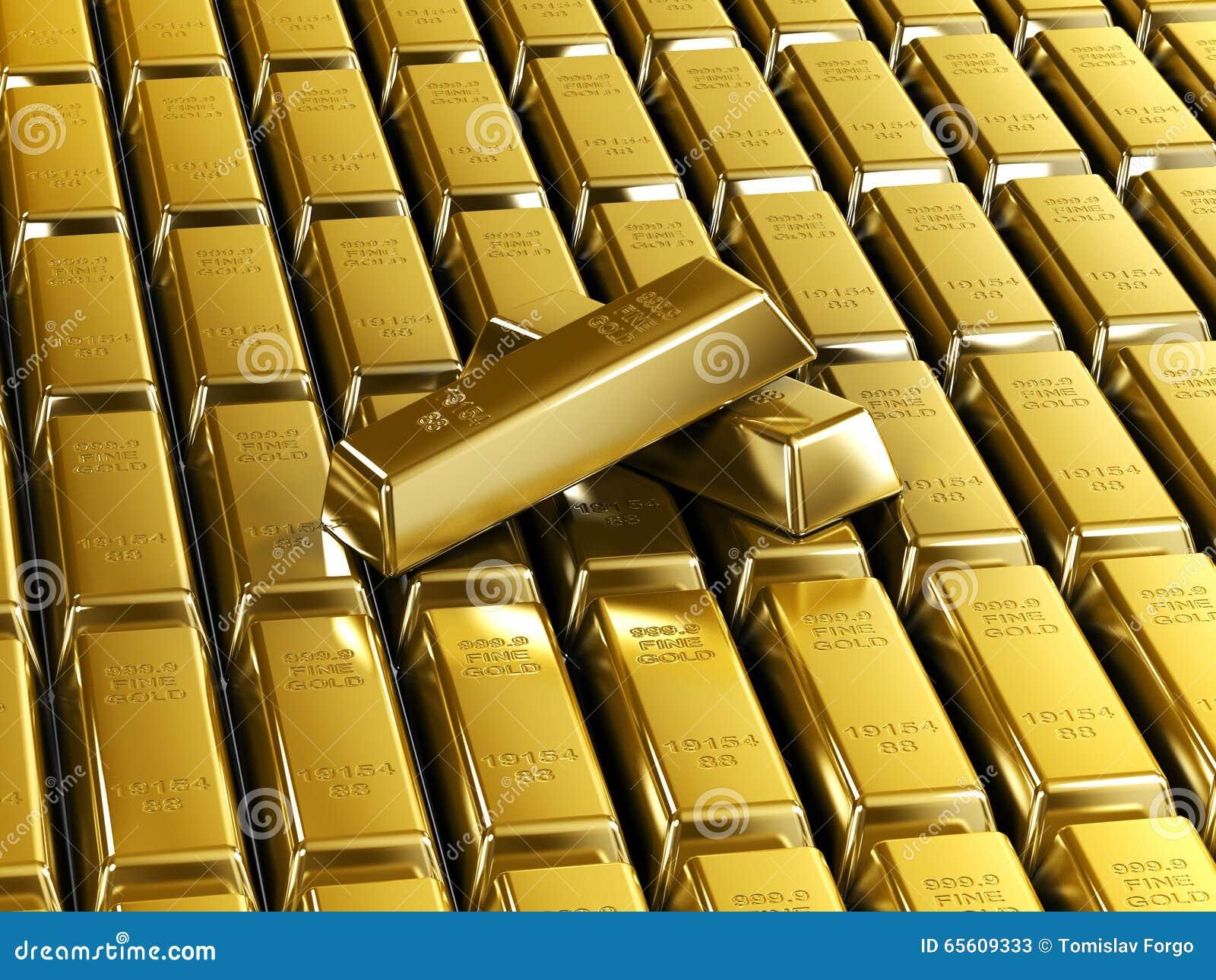 Barras de ouro telhadas