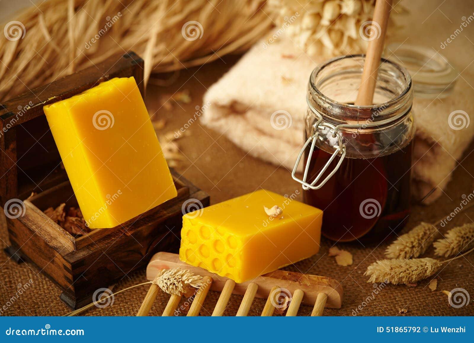 Barras del jabón de la miel