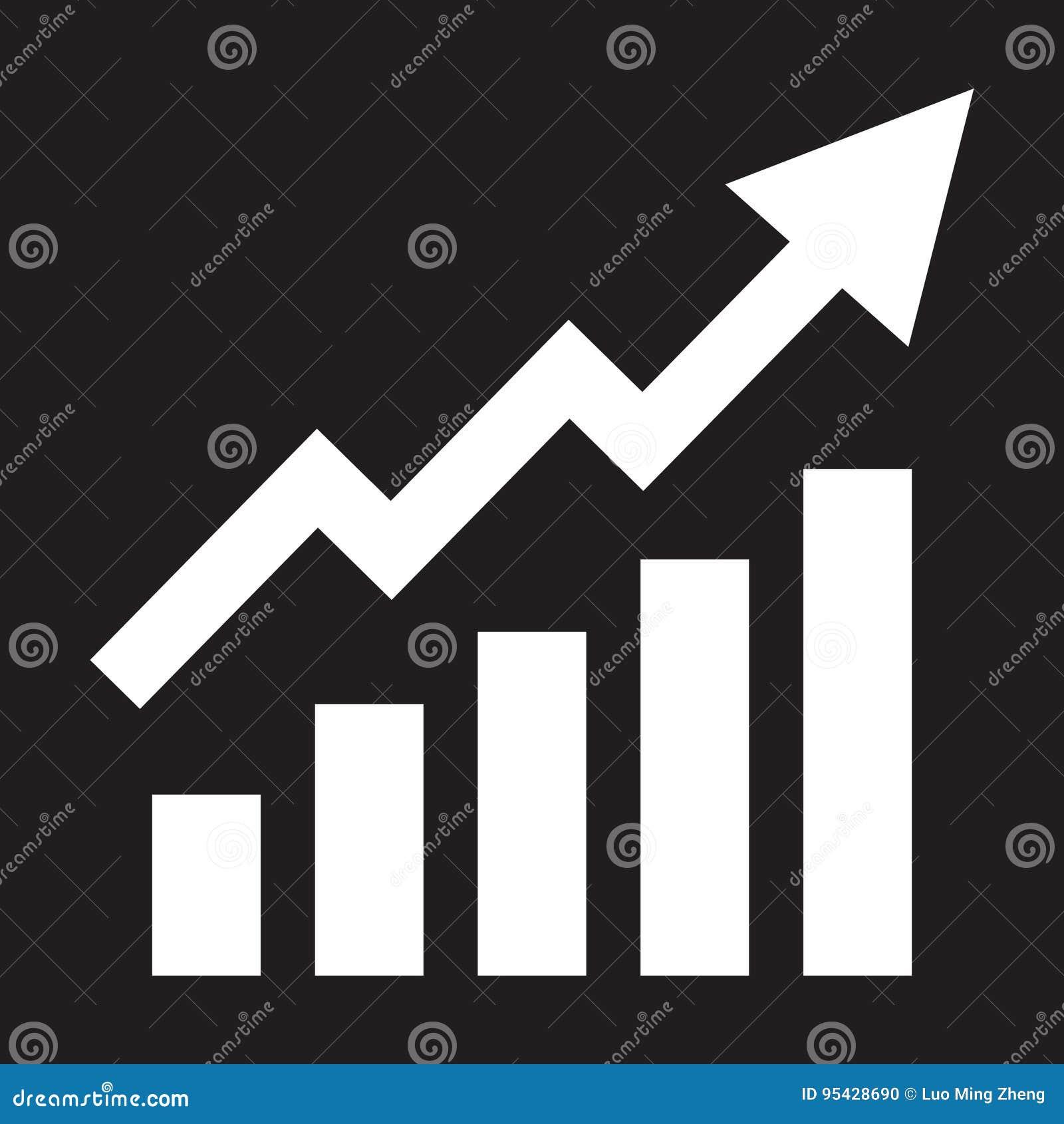 Barre crescenti grafiche con la freccia in aumento