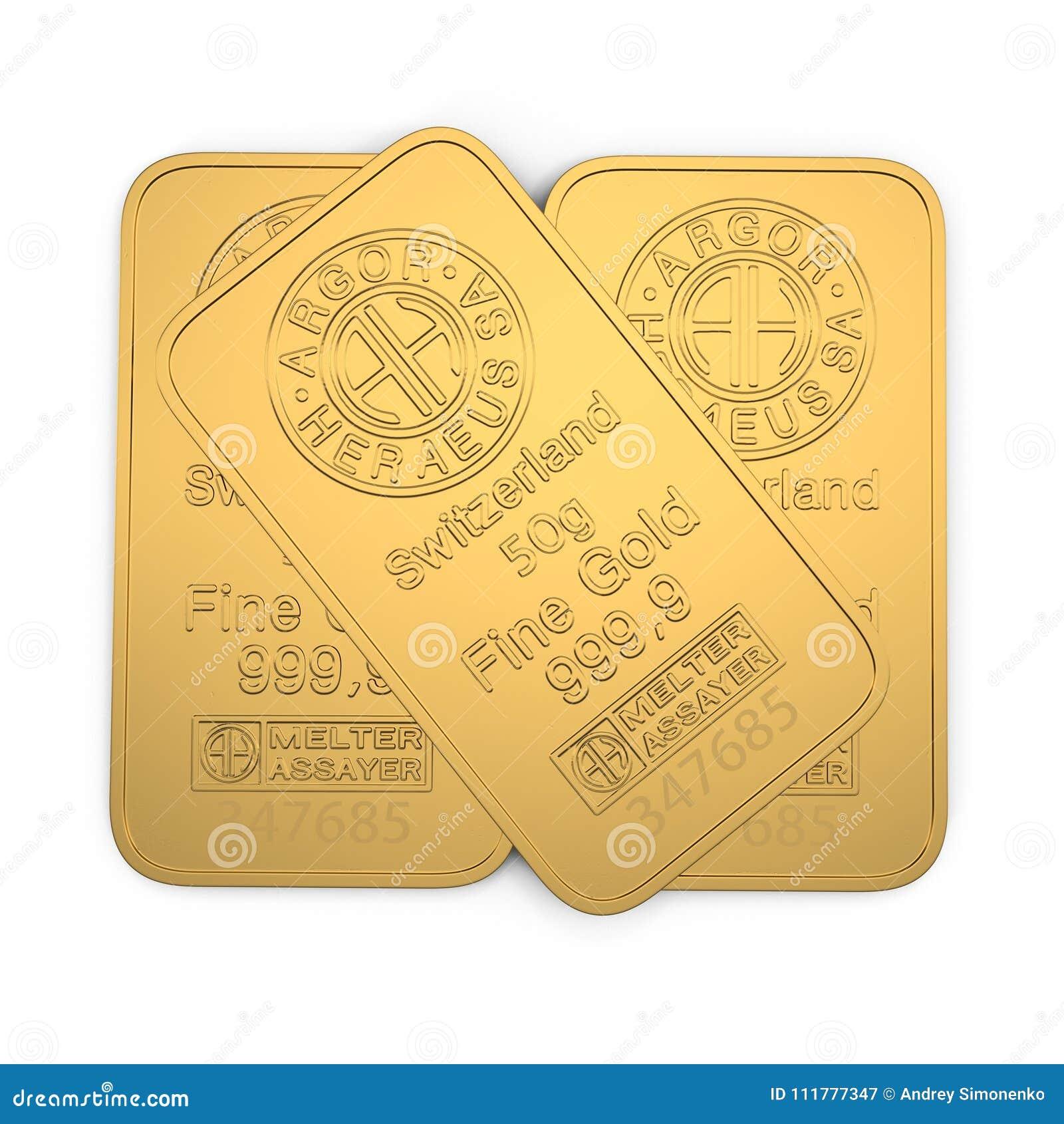 Barre d or 50g d isolement sur le blanc illustration 3D