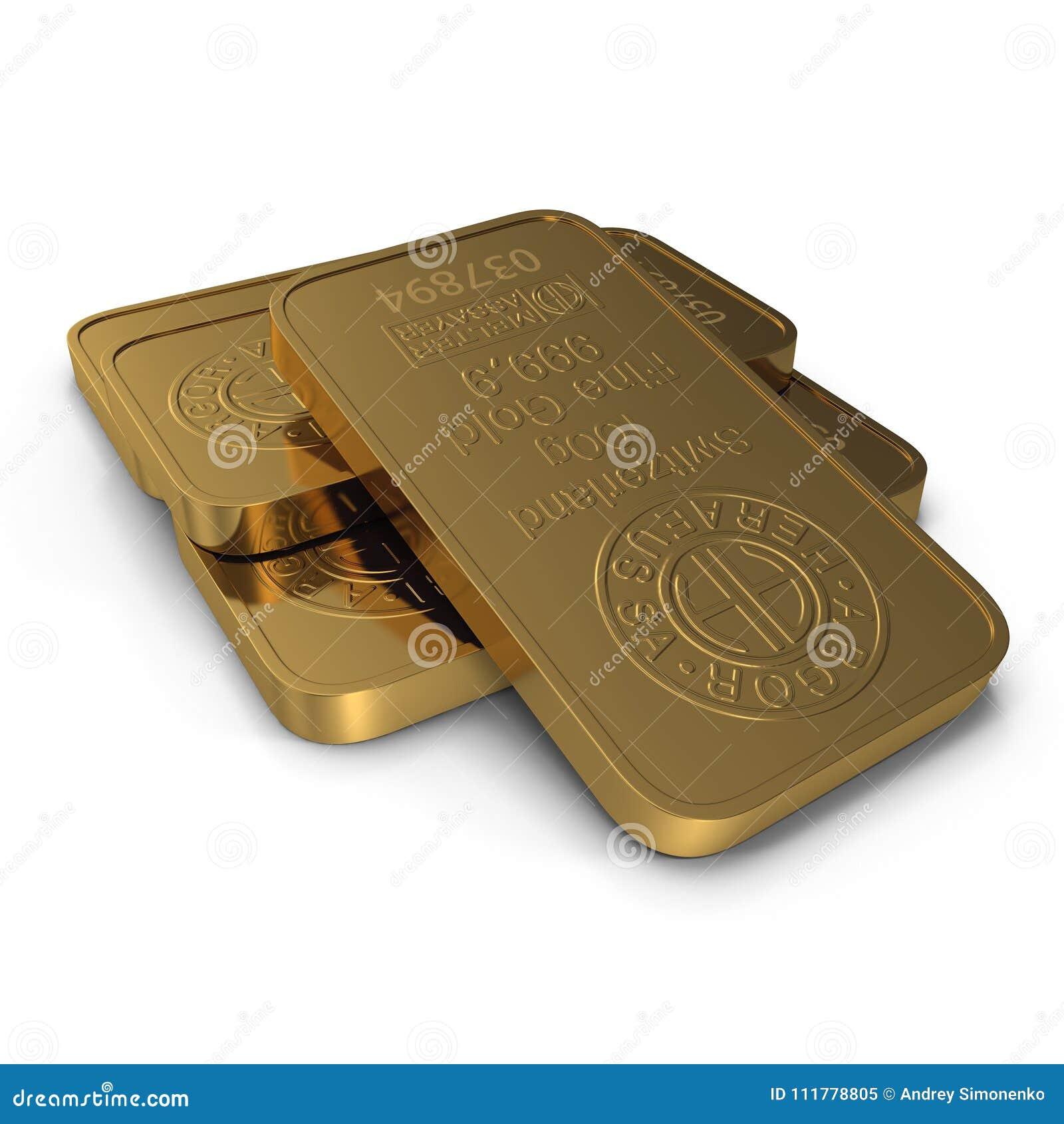 Barre d or 100g d isolement sur le blanc illustration 3D