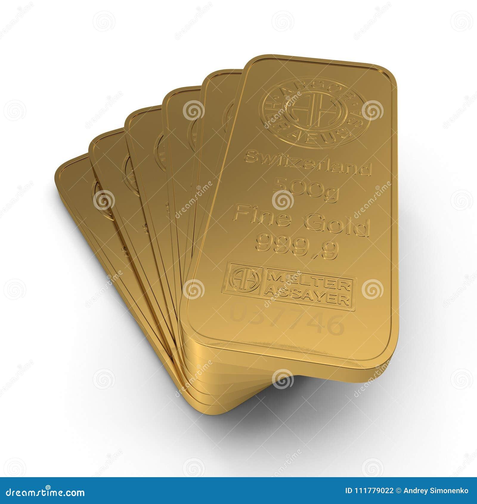 Barre d or 500g d isolement sur le blanc illustration 3D
