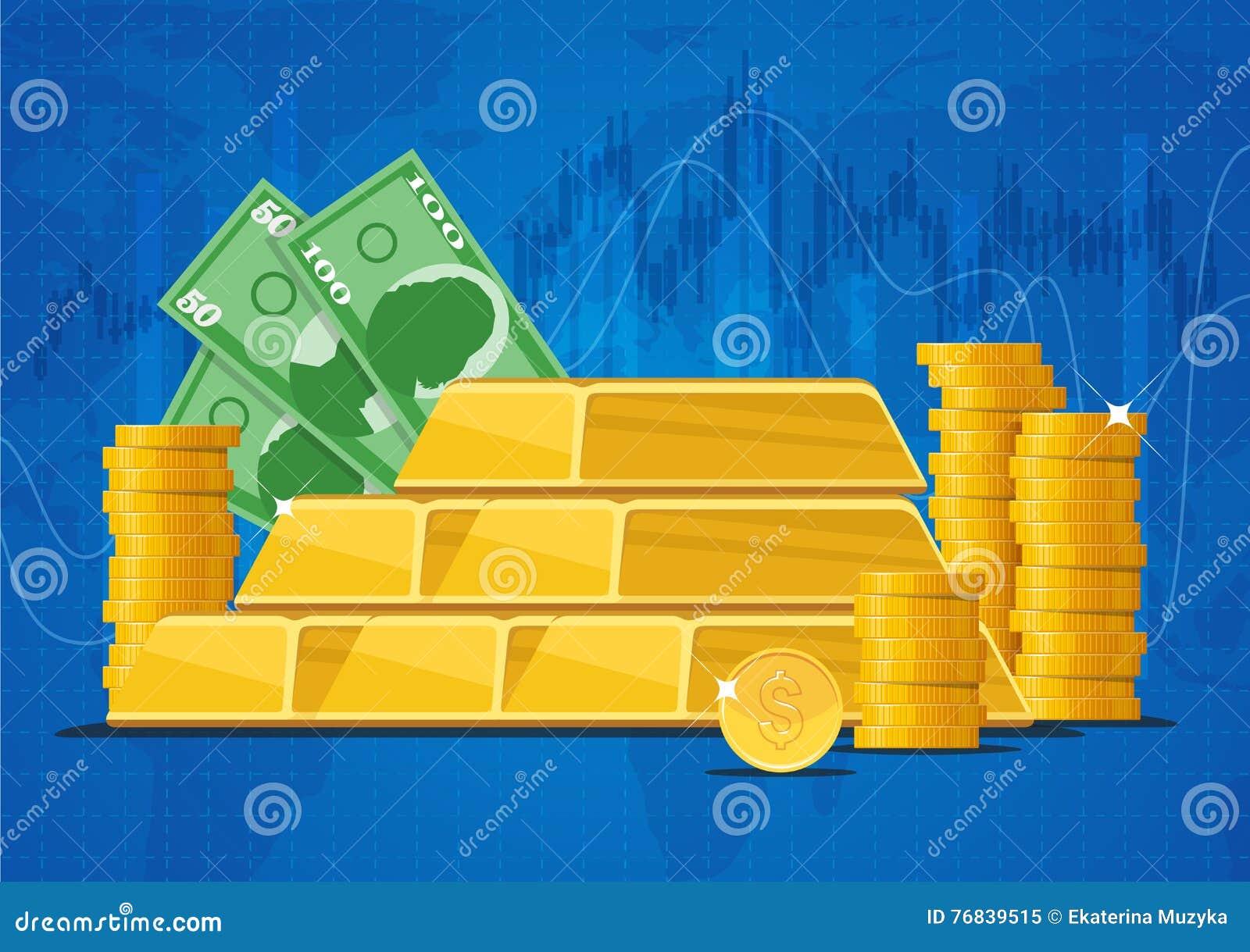 Barre di oro, banconote dei soldi e monete del dollaro Illustrazione di vettore di concetto dei mercati finanziari di affari nell