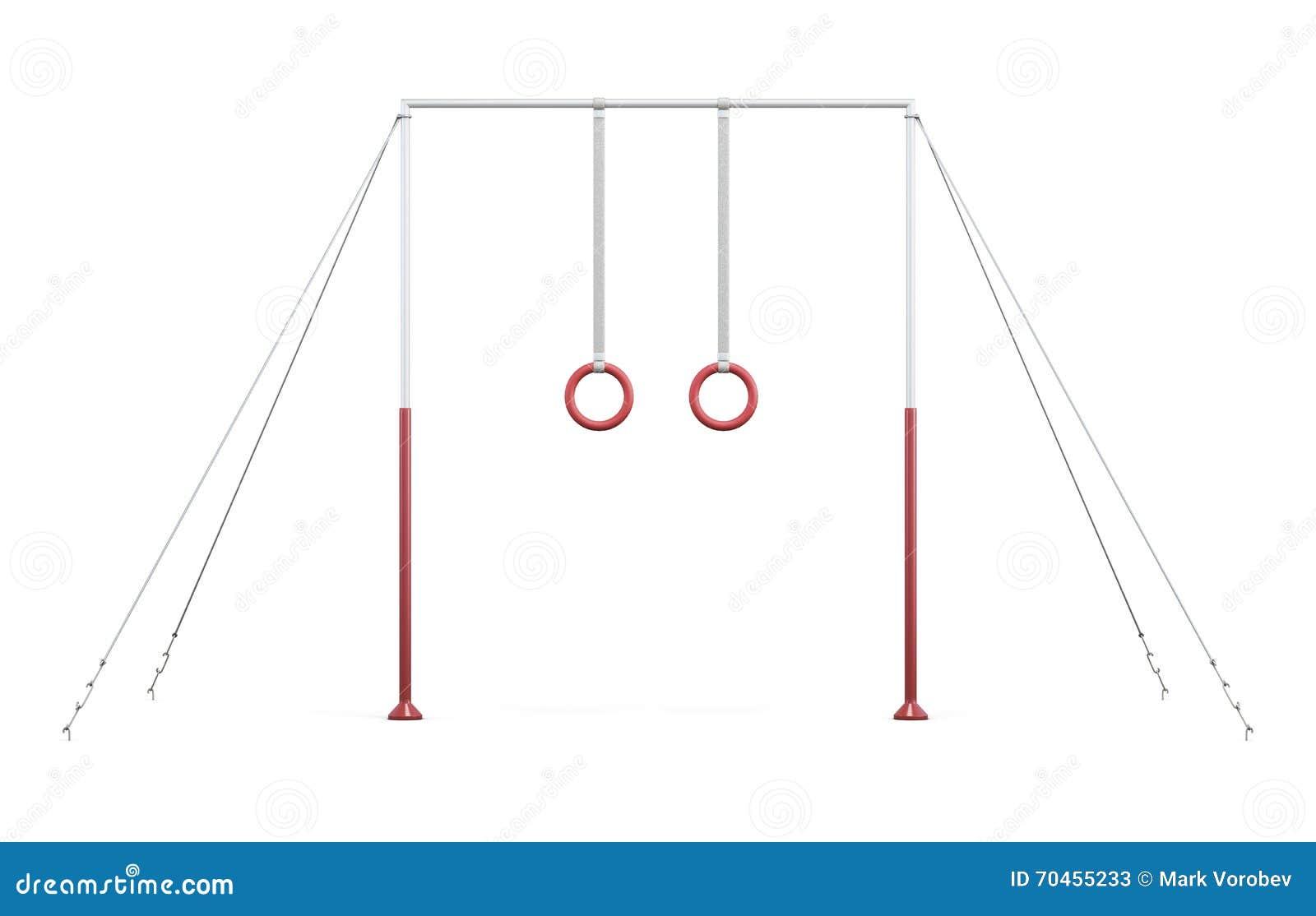 Barre horizontale avec des anneaux sur des cordes sur le fond blanc rende 3D