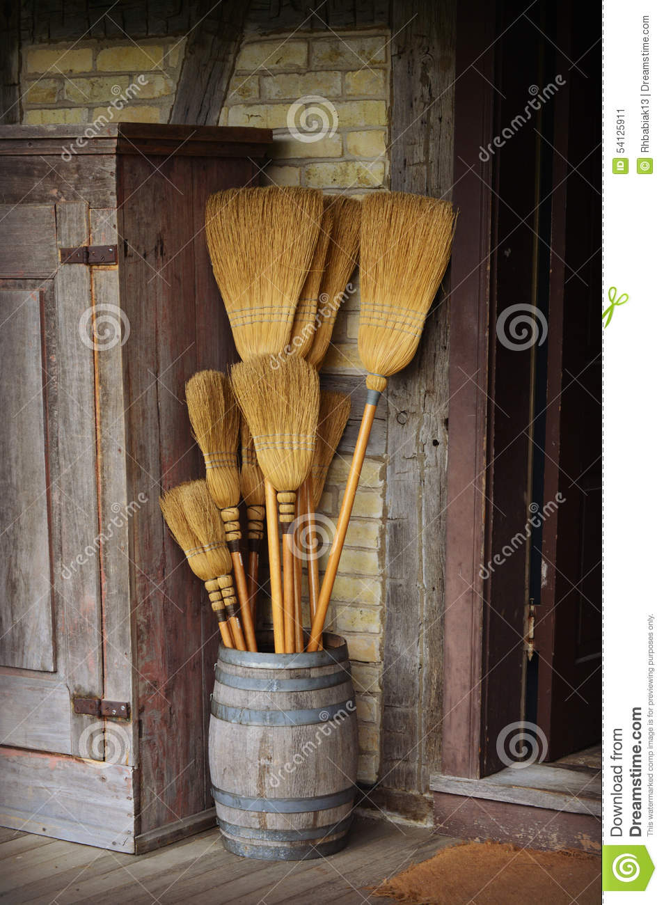 Barrel of brooms stock photo image 54125911 for Old world floors