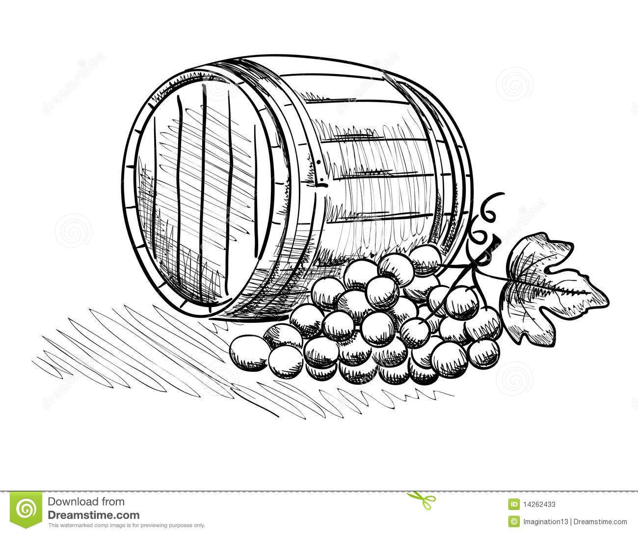 Barrel And A Bunch Of Grapes Stock Vector
