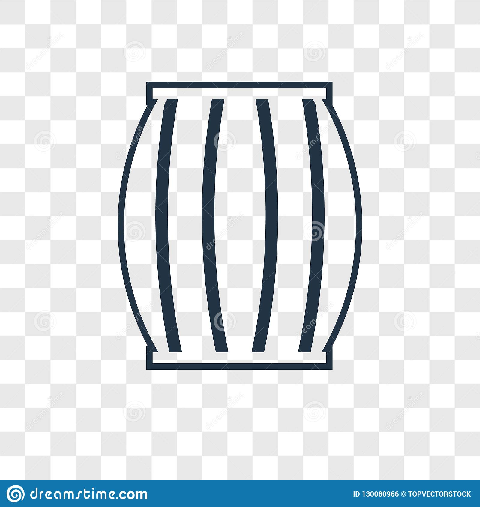 Barrel concept vector linear icon isolated on transparent background, Barrel concept transparency logo in outline style