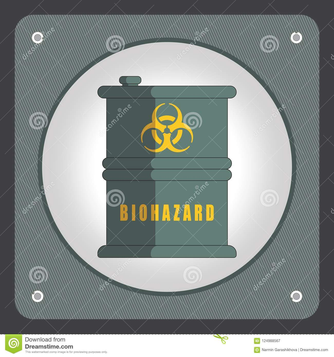 Barrel with hazardous chemicals. Ecology design concept with air, water and soil pollution. Flat icon vector illustration.