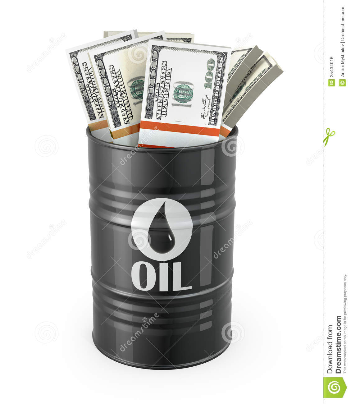 Barrel Of Oil With Dollars Inside Stock Photo Image