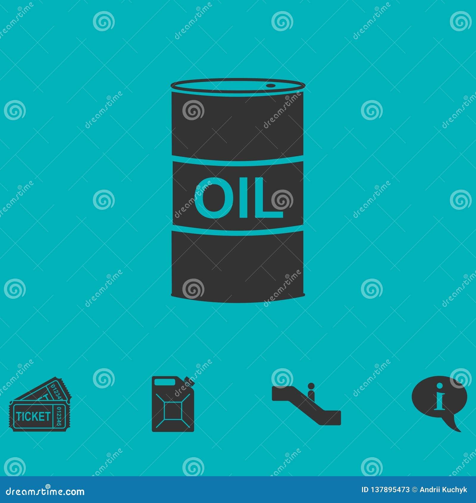 Barrel oil icon flat