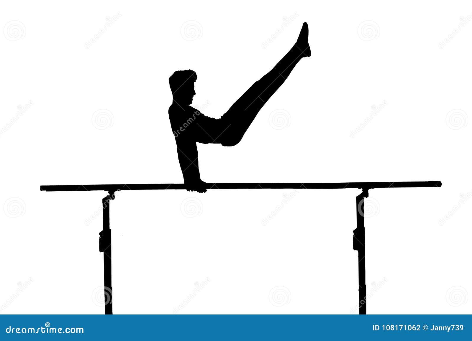 barren gymnastics on the pole as silhouette stock illustration