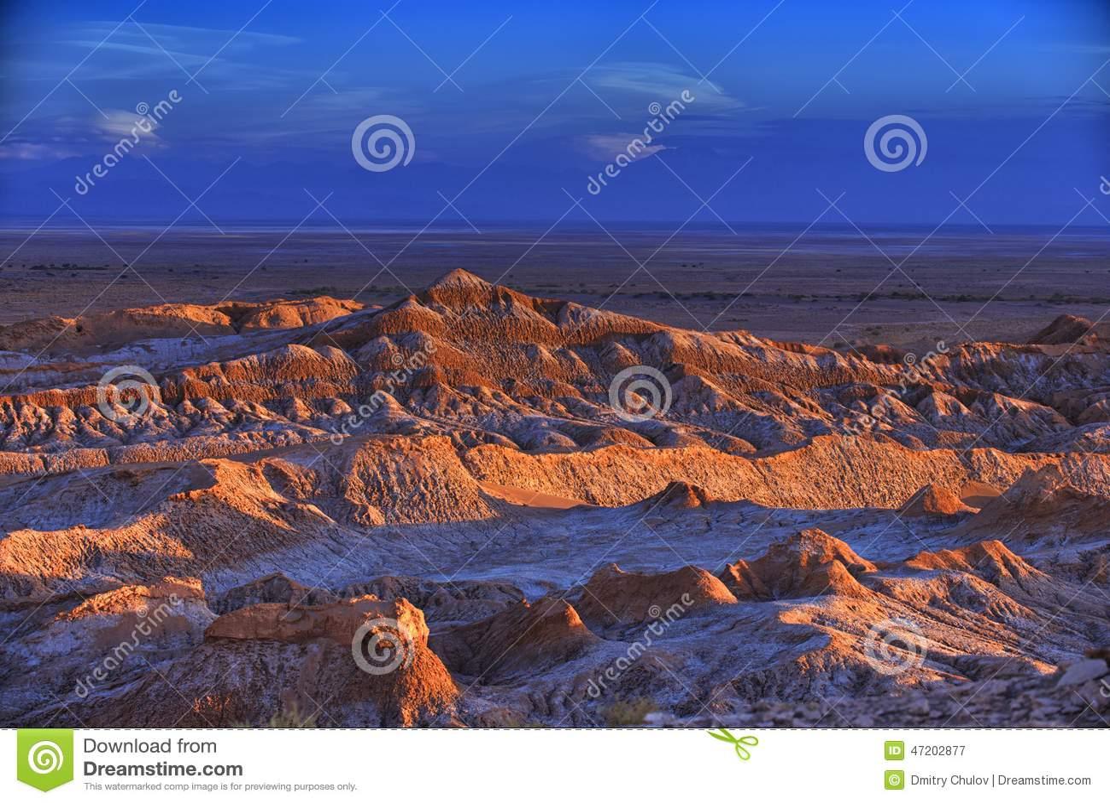 Barren landscape of the Moon valley in Atacama desert, Chile.
