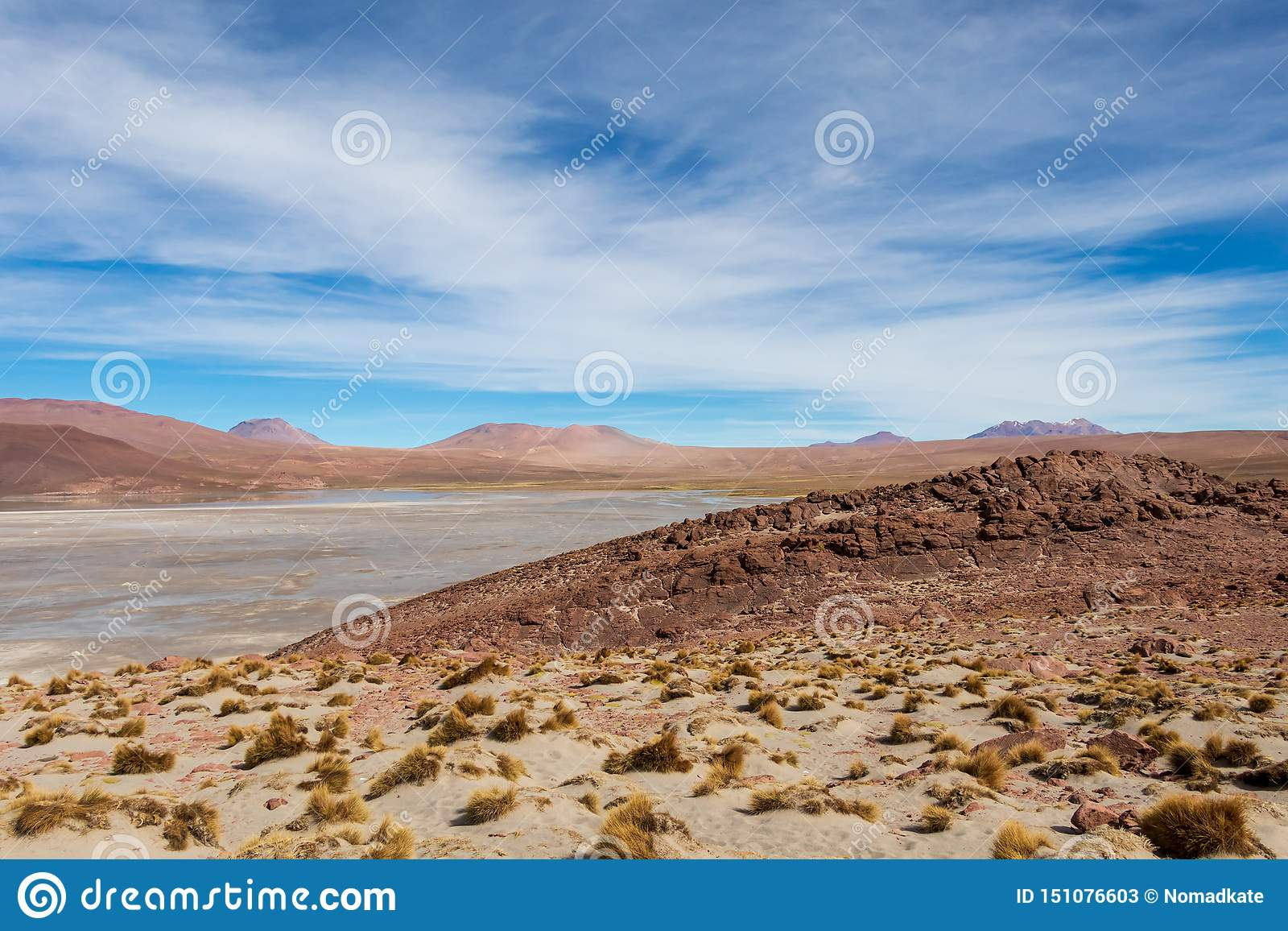 Background with barren desert scenery in the Bolivian Andes, in the Nature reserve Edoardo Avaroa