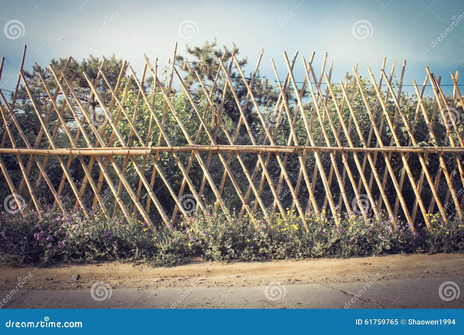 Barrière en bambou 3 image stock. Image du bambous, roadside - 61759765