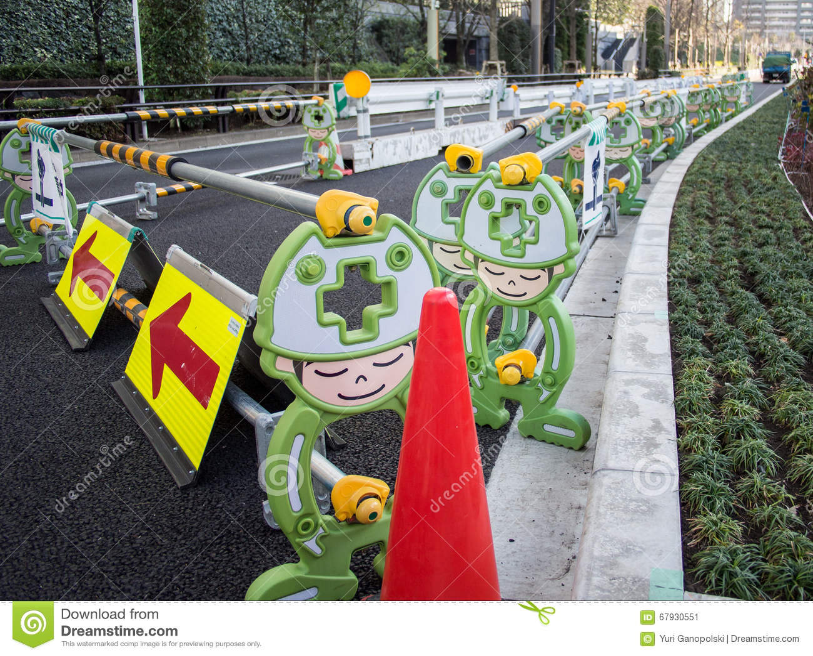Barrières portatives du trafic à Tokyo, Japon