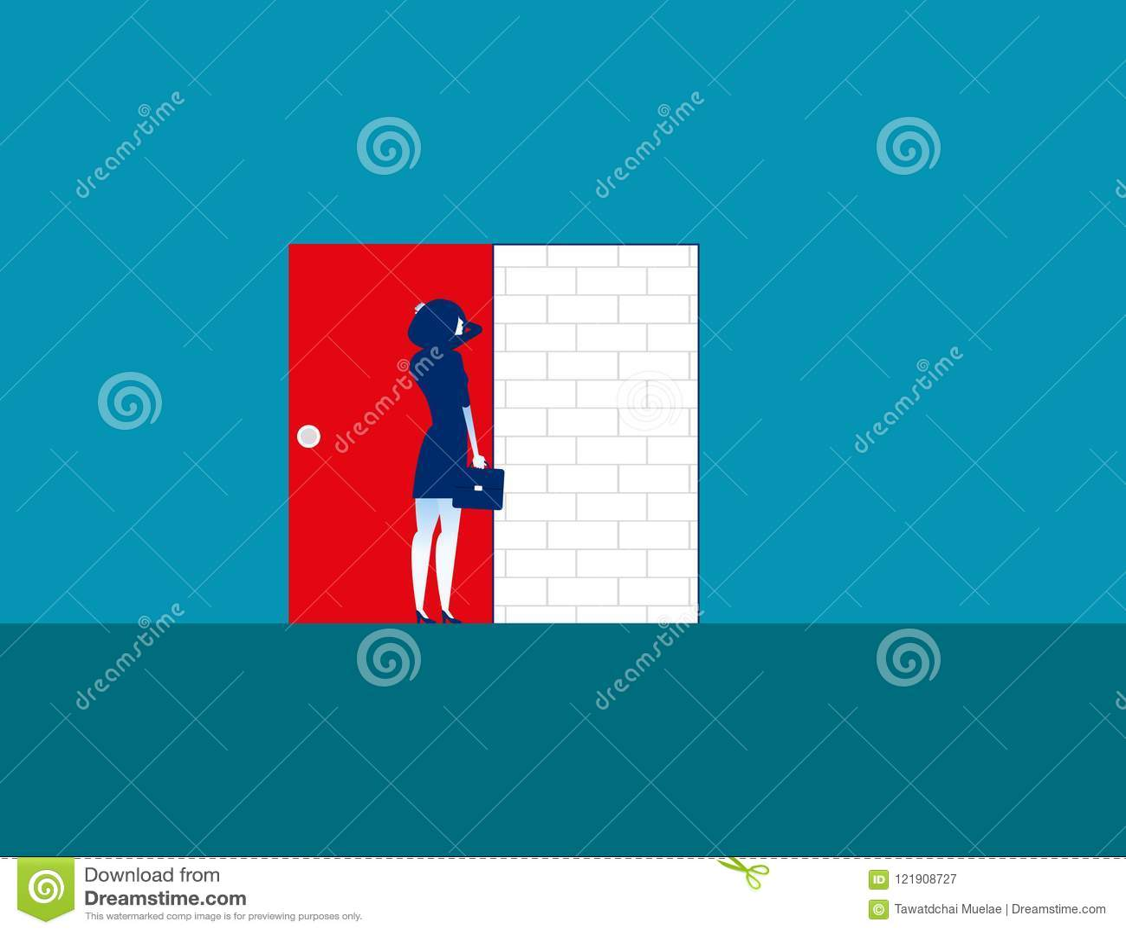 Barriera Donna di affari con il muro di mattoni Vettore di affari di concetto