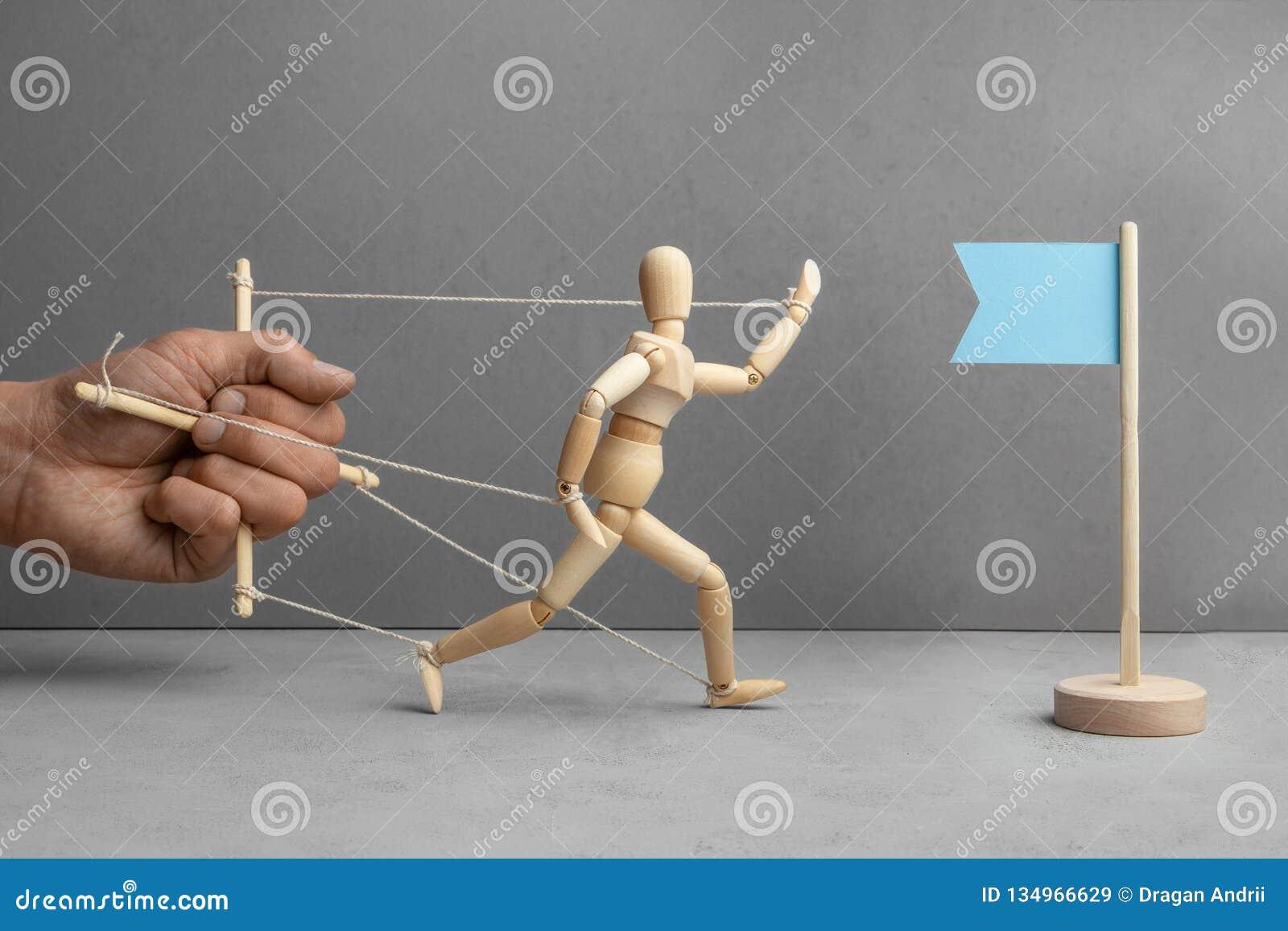Barriere e deduzioni sul modo allo scopo Il burattinaio tiene la bambola e non lascia la bandiera come simbolo dello scopo