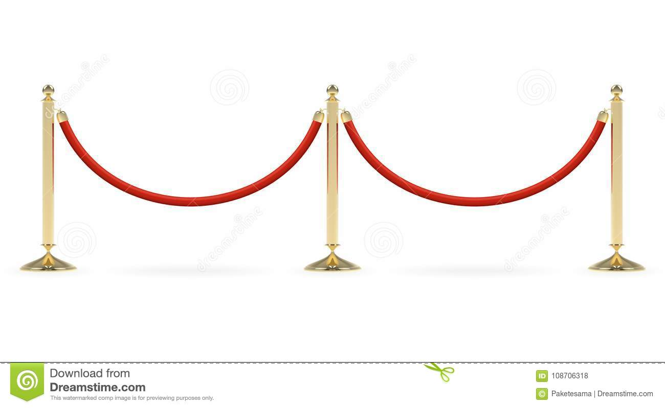 Barriers with red rope stock vector  Illustration of isolated