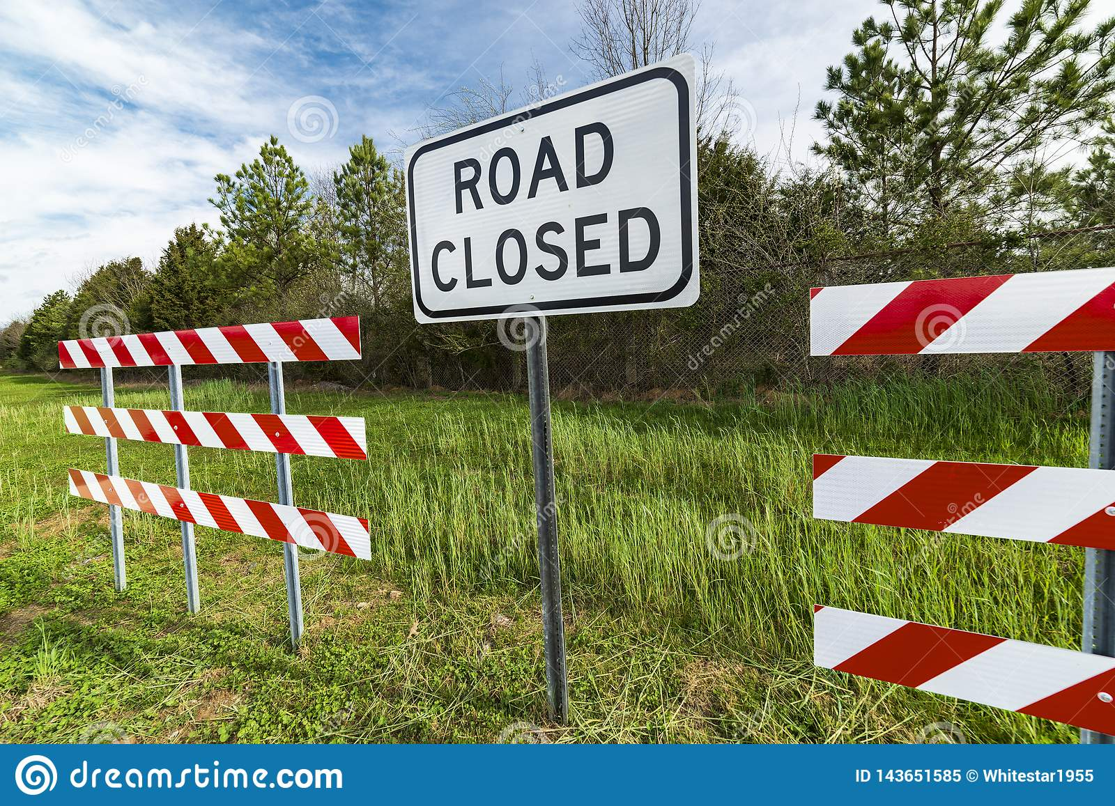 Barriers With Road Closed Sign Stock Image - Image of boundary