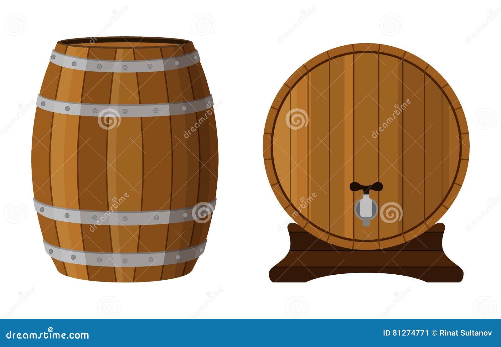 Barril de madera con ron Coñac, brandy, escocés en barril de la historieta