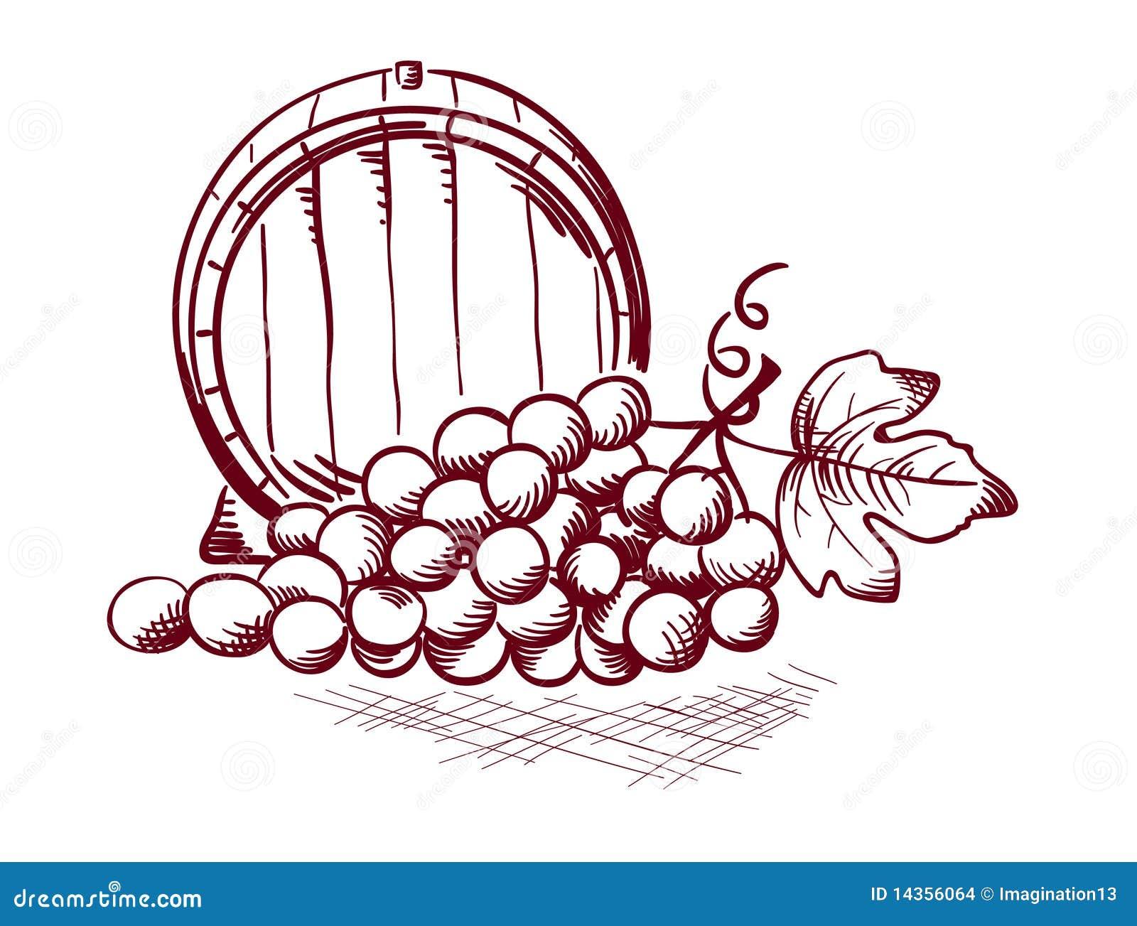 Dibujo En Linea Uva: Barril Y Uvas Ilustración Del Vector. Ilustración De