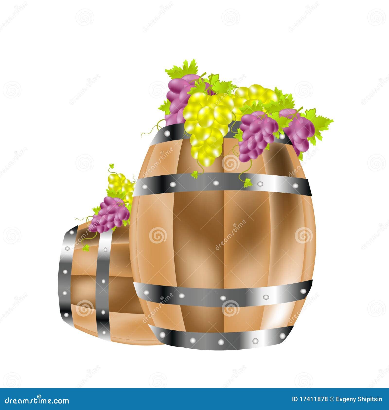 Barriles y uva de madera for Barriles de madera bar