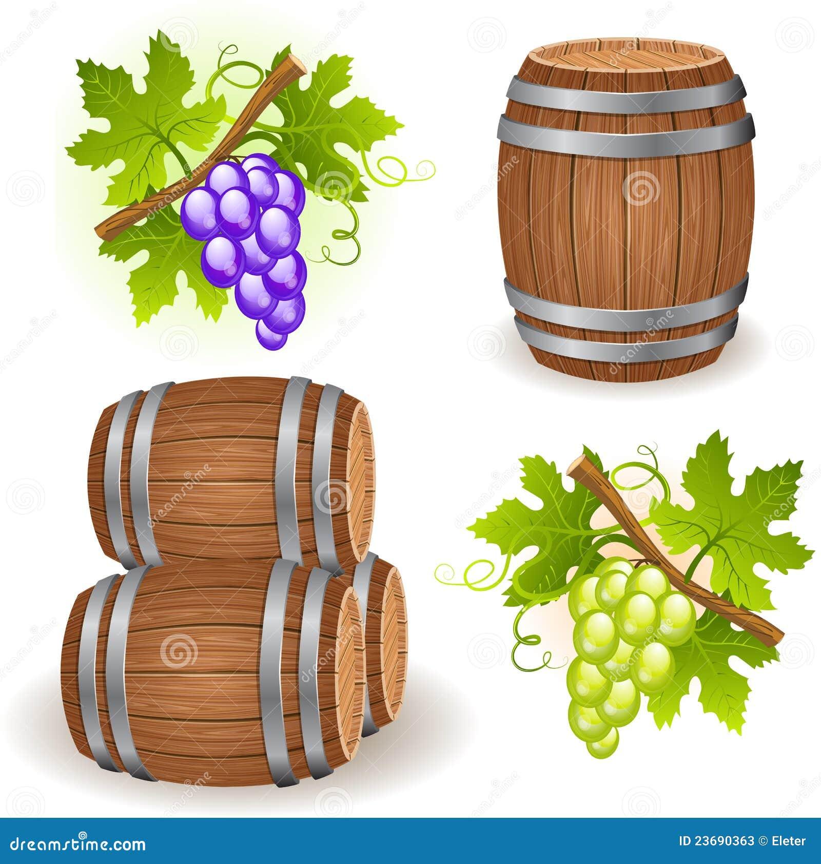 Barriles y uva de madera fotos de archivo imagen 23690363 for Barriles de madera bar