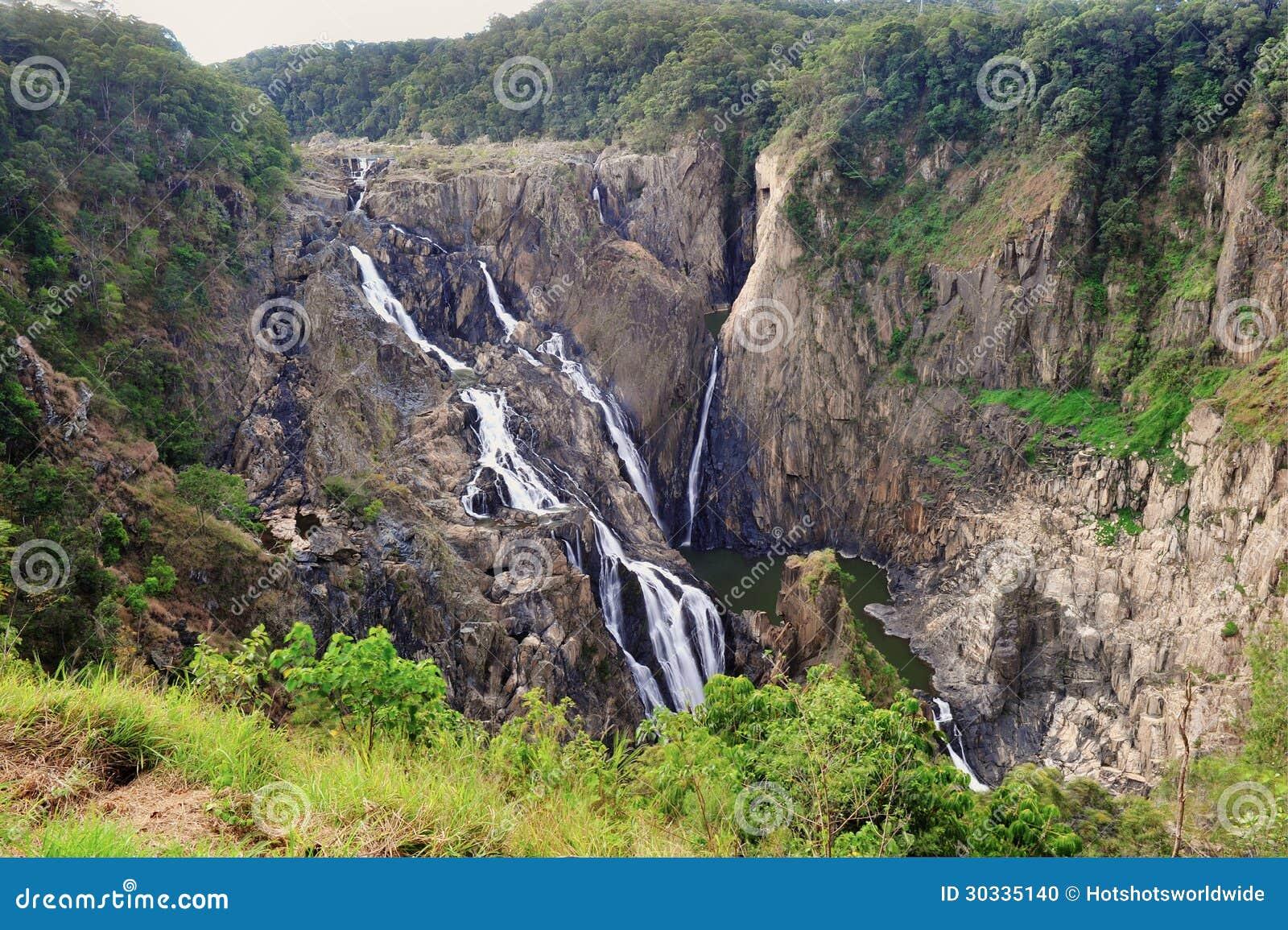 Barron Falls Australian-waterval, Steenhopen, Zuidelijk Queensland,