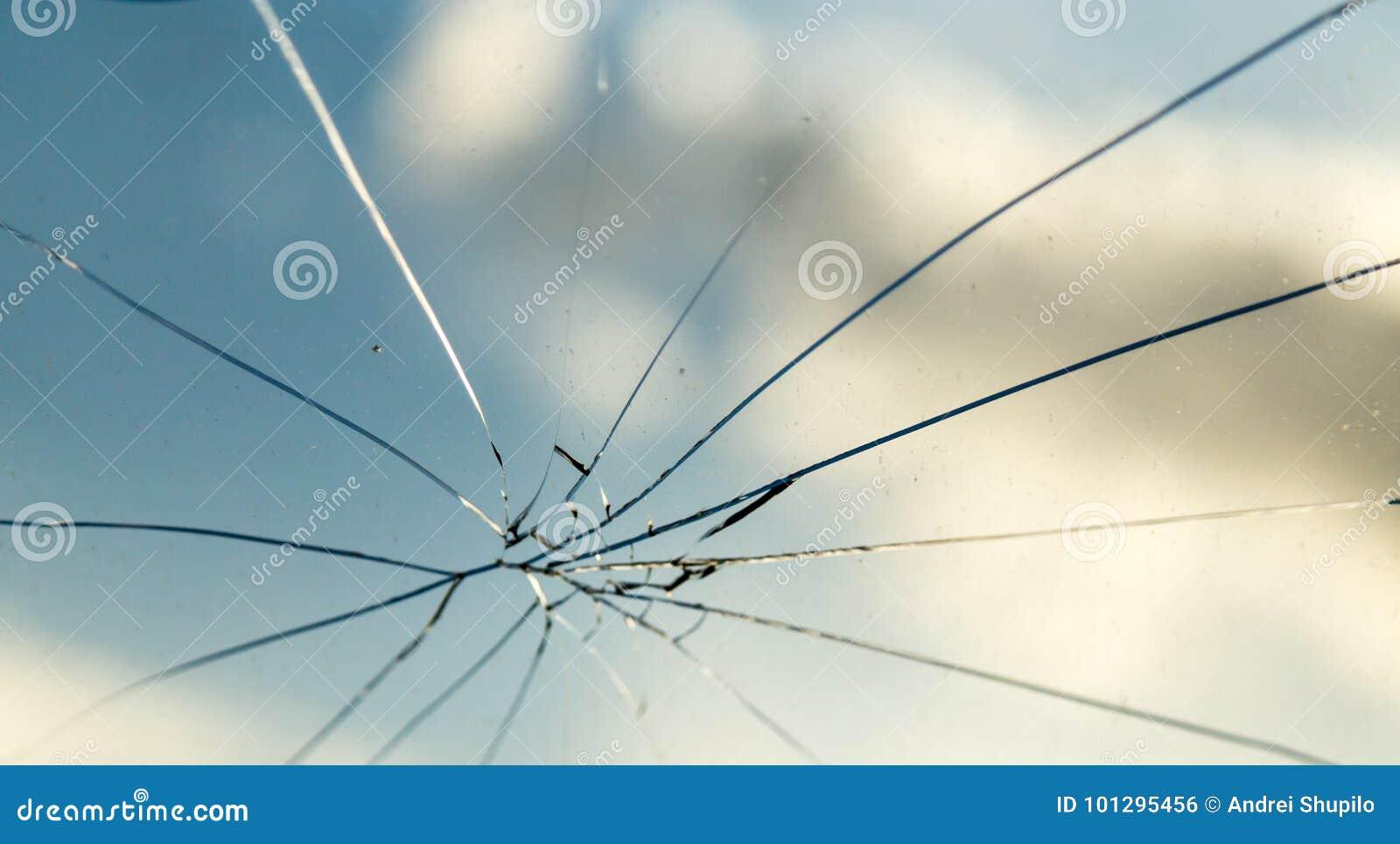Barst op het autoglas als achtergrond